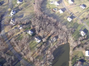Our house as seen from our airplane