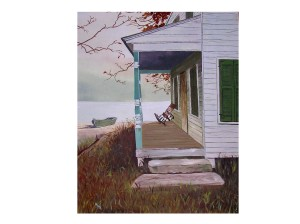 Oil Painting of house on lake with porch and rocker