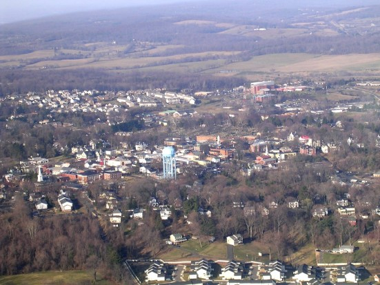 Warrenton viewed from a cockpit