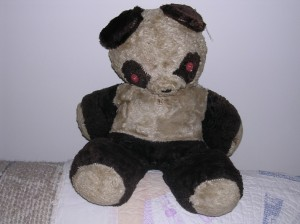 A very old teddy bear