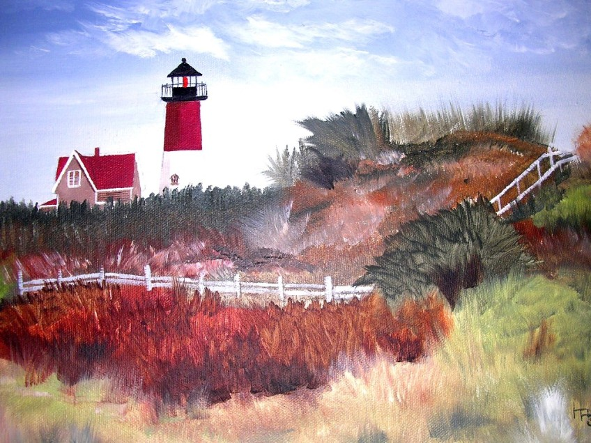 Cape Cod Lighthouse Oil Painting by ME!