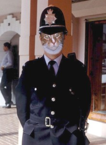 Sam in a London Bobby uniform (haha)