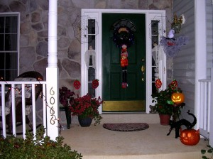 Our front porch decked out for Halloween