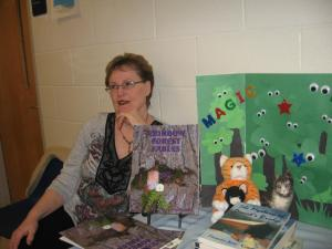 Mom at the book fair...I'm SURE she's thinking about me!