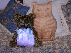 "The little guy with the blue ribbon is from Mollie and it ""lives"" on my Mom's bed next to the ginger cat pillow!!"