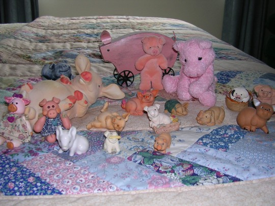 Ceramic, cloth, rubber, wooden....Mom's got all kinds of piggies!