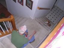 """""""Go fishing"""" on the stairs"""