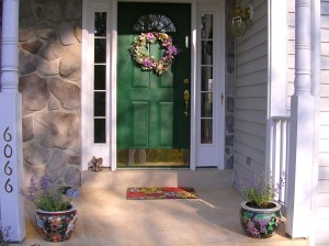 Mom put the Spring wreath on the door!
