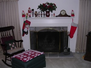 See that stocking on the left side of the fireplace with the snowman on it?  That's MINE!