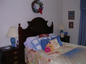 Or here in the guest room (I'm under the bed)