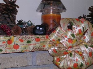 Bashful's formal Thanksgiving portrait on the fireplace mantle at the cottage!