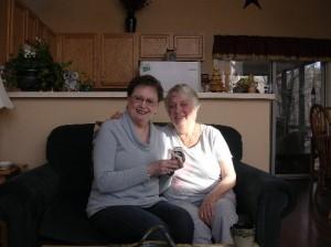 My Mom holding Bashful so Aunt Carol can meet him up close!