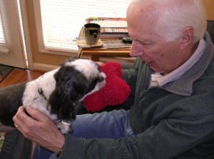 Dad was too busy with Aunt Carol's dog Toby who was talking Dad into throwing the red toy for him so he's not in the photo!