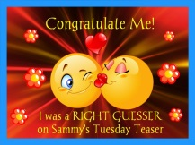 I guessed RIGHT (but wasn't FIRST!) on Sammy's Teaser on October 24, 2017