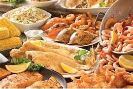 Complete seafood buffet with life dead shrimp and all kinds of fish!