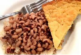 Blackeyed Peas and cornbread for luck!